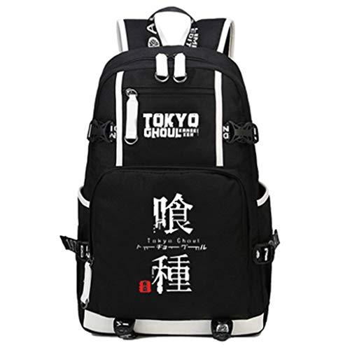ZXJWZW Cartoon Anime Rucksack Tokyo Ghoul Große Kapazität Reiserucksack USB Laptop Tasche