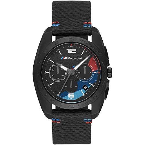BMW BMW2001 M Motorsport Chronograph Uhr Herrenuhr Stoffband 5 bar Datum schwarz