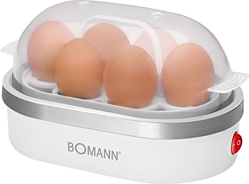 Bomann WK 5005 G CB Cuece huevos, 400 W, 1.7 litros, Vidrio/Acero Inoxidable, Transparente/Blanco