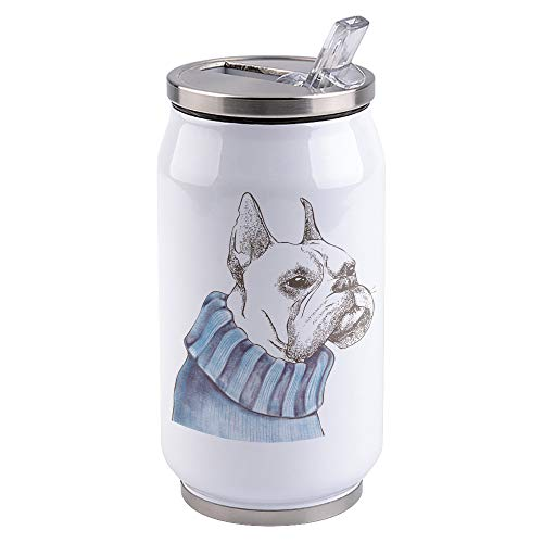 Pet Dog Travel Mug, Stainless Steel Tumbler with Straw, Sliding Lid Mugs for Hot and Iced Water, Coffee, Tea and Beverages 300ml, French Bulldog in Sweater