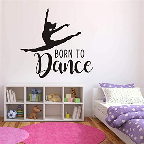 Home Decoration Dance Wall Sticker Art Removable Girl Dancing Born to Dance Quotes Wall Decor product image