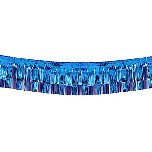 10 Feet by 15 Inch Royal Blue Foil Fringe Garland, Shiny Metallic Tinsel Banner Ideal for Parade Floats, Bridal Shower, Bachelorette, Wedding, Birthday, Christmas - Wall Ceiling Hanging Fringe Drapes