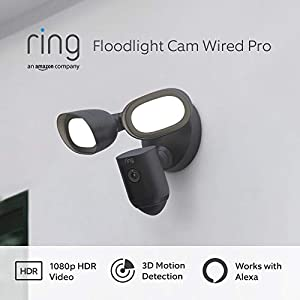 Introducing Ring Floodlight Cam Wired Pro by Amazon   1080p HDR Video, 3D Motion Detection and Bird's Eye View, hardwired installation   With 30-day free trial of Ring Protect Plan   Black