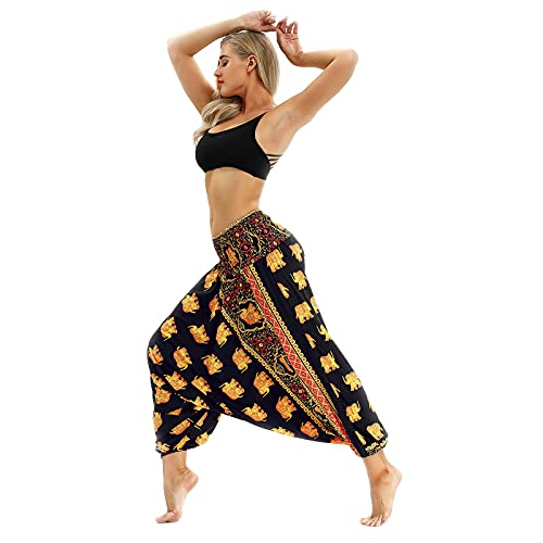 LWZ Pantalones de Yoga Hippie Pantalones Harem Sueltos Bombachos Fiesta en la Playa de Vacaciones,3