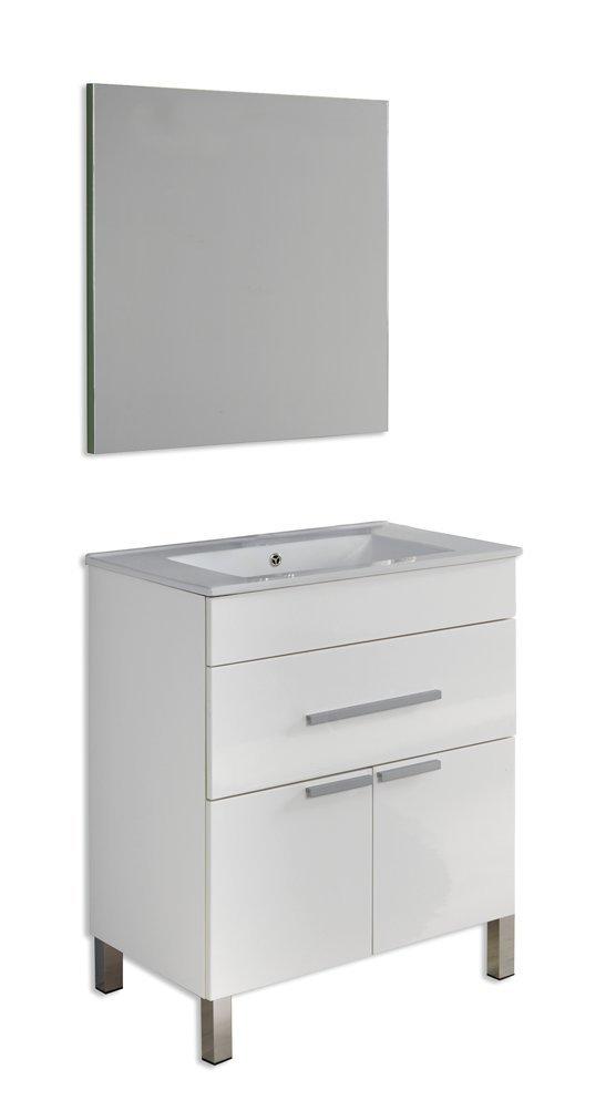 Platos de ducha y mamparas Conjunto Amira_PdM_ Mueble + encimera cerámica + Espejo Liso (Blanco Brillo, 60cm): Amazon.es: Juguetes y juegos