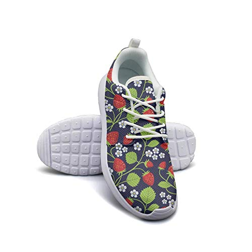 Strawberry Plants Fruit Black Womans Canvas Casual Shoes Breathable Basketball Shoes