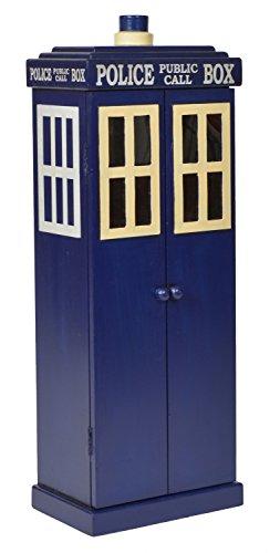 ts-ideen Unidad de Almacenamiento Armario para CD DVD Diseño Cabina de Telefono Policia Azul 78 x 28 cm