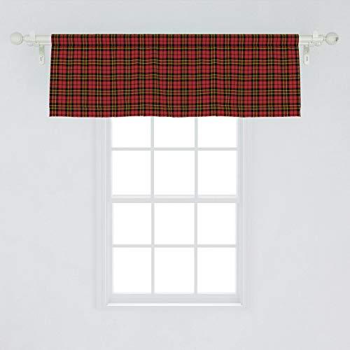 Lunarable Plaid Window Valance, Classical Celtic Fashion Tartan Checks and Stripes Cultural Orange Shades, Curtain Valance for Kitchen Bedroom Decor with Rod Pocket, 54' X 18', Yellow Black Vermilion