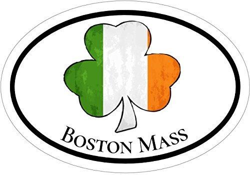 "ION Graphics Magnet Boston - Oval Irish Flag Shamrock Boston Massachusetts Vinyl Magnet - Boston Vinyl Magnet - Shamrock - Irish - Perfect City of Boston Gift - Made in The USA Size: 4.7""x3.3"" inch"