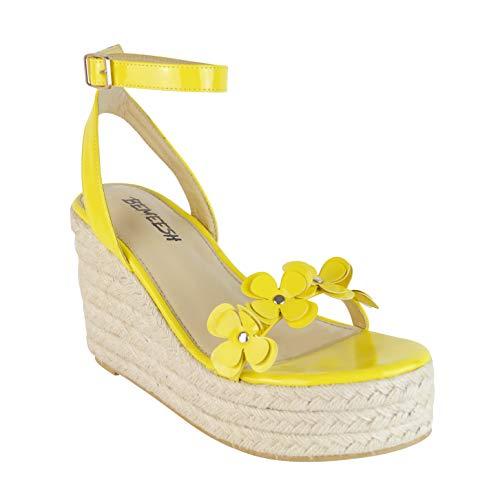 BeMeesh Alpargatas Mujer Atada Zapatos Plataforma Tacones de Verano Sandalias con cuña