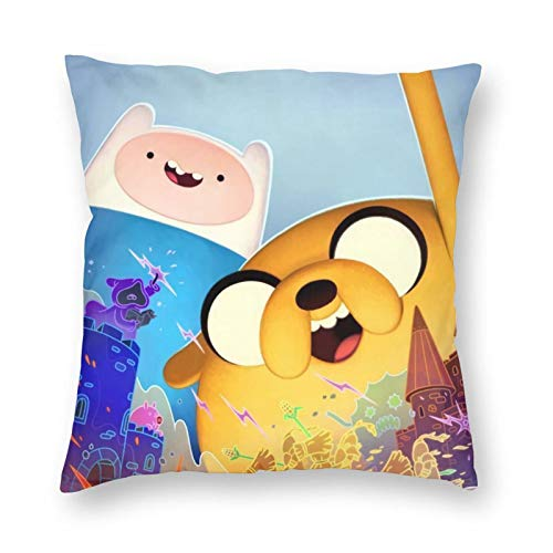 Adventure Time Finn And Jake - Fundas de cojín decorativas cuadradas con cremallera invisible para sofá, dormitorio, sala de estar, fundas de almohada de microfibra, 45 x 45 cm