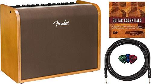 Fender Acoustic 100 1x8' 100W Acoustic Guitar Amplifier Bundle with Fender 10ft Instrument Cable, 3-Pack Fender Picks, and Austin Bazaar Instructional DVD
