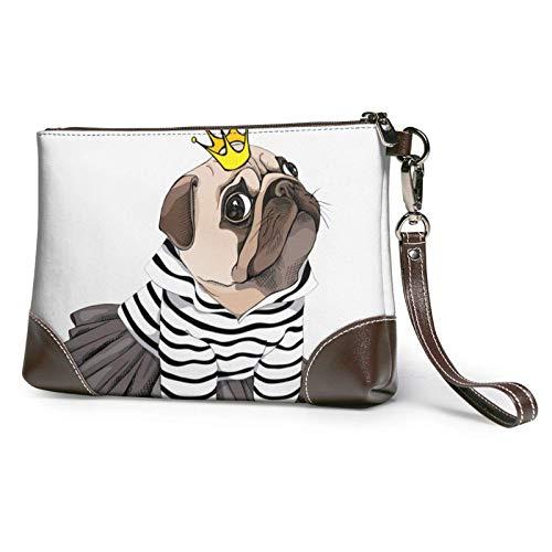 XCNGG Lindo perro Pug estampado embrague monedero de cuero desmontable cartera cartera bolso de mujer