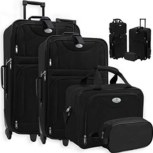 KESSER® 4tlg Trolley Kofferset | Reisekoffer Set mit Rollen | Komplettes Business 4er Set | S M L XL | Netzfach | Rollen | Teleskopgriff | Koffer Reisetaschen Stoffkoffer | Handgepäck | Schwarz