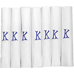 7 Pack Of Mens/Gentlemens White Satin Bordered Handkerchiefs With & Blue Embroidered Initials, K