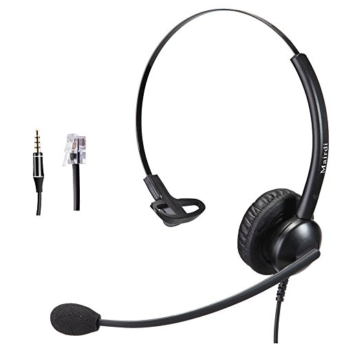 Telefon Headset mit Mikrofon Noise Cancelling, Monaural Büro CallCenter Festnetztelefonen Kopfhörer mit RJ11 und 3.5mm Klinke für Mitel Aastra NEC Toshiba Shoretel und Handy PC Laptops Tablets