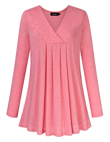 AMZ PLUS Women's Plus Size Pleated Henley Tops V-Neck Loose Blouse Casual Tunic Shirt Flattering Pink 3XL