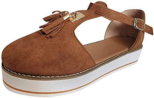 Sandalen met steunzool voor dames Dames Plateau & Sleehak Sandalen Leren sandaal Casual Zomer Espadrilles Sandalen met gesloten neus