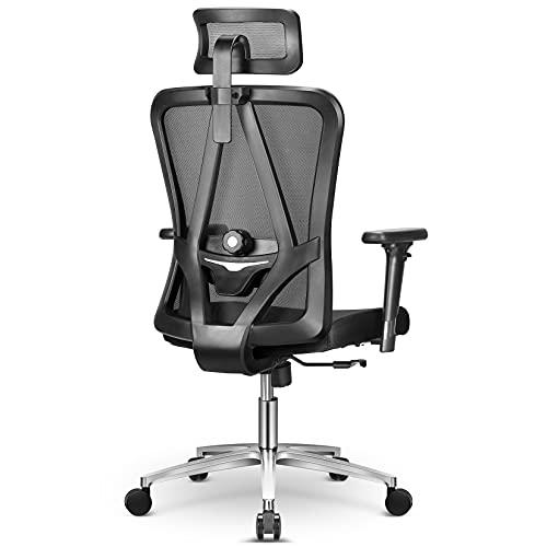 mfavour Bürostühl Ergonomischer Bürostuhl mit 3D Armlehnen, 3D Lordosenstütze Drehstuhl Computerstuhl Chefsessel, Verstellbare Kopfstütze, Höhenverstellung, bis 150 kg/330lb