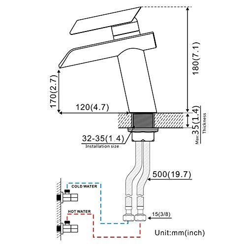 Auralum Wasserhahn Glas Spüle Waschtisch Waschtischarmatur Armatur für Bad - 2