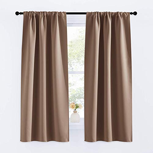 NICETOWN Kitchen Window Blackout Curtains - Window Treatment Thermal Insulated Rod Pocket Small Blackout Draperies/Drapes for Bedroom/Kitchen (Cappuccino, Set of 2, 34 inches Wide by 63 inches Long)