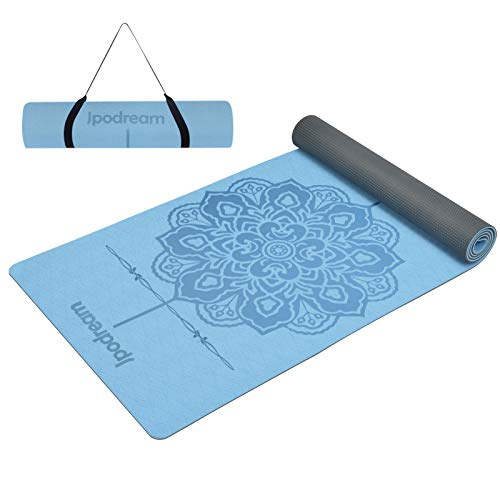 Jpodream Yoga Mat, Exercise Mat Non Slip 6mm Thick,Workout Mat with Carrying Strap for Women, Eco-Friendly TPE for Home, Pilates, Yoga, Gym, Fitness and Travel
