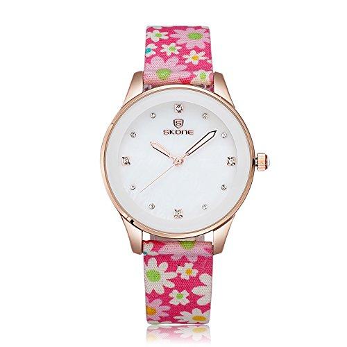 SKONE Frauen Kleid Uhren Stoff Band Quarz Uhren Strass Rose Gold Fall, Pink