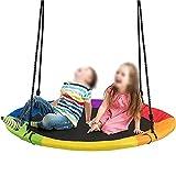 QYK -Columpio de árbol con platillo Volador para niños y Adultos, Ideal para Columpio en el Patio, Columpio Impermeable Seguro, Columpio al Aire Libre con Kit