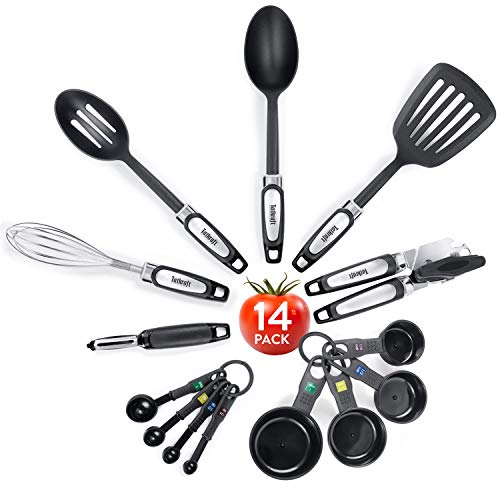 Tatkraft Grip | 14 pièces d'ustensiles pour la Cuisine en Plastique et métal | Kit d'accessoires Cuisine | Inclus : Fouet, cuillères, éplucheur, ouvres boites, ustensiles de Mesure | Lavable Machine