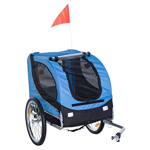 Pawhut Bicycle Dog Carrier Jogger Kit Bike Trailer with Steel Frame Cover and Suspension (Blue)