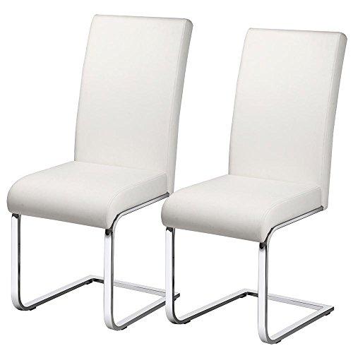 Yaheetech Esszimmerstühle 2er Set Freischwinger Esszimmerstuhl Polsterstuhl Kunstleder 120 kg belastbar