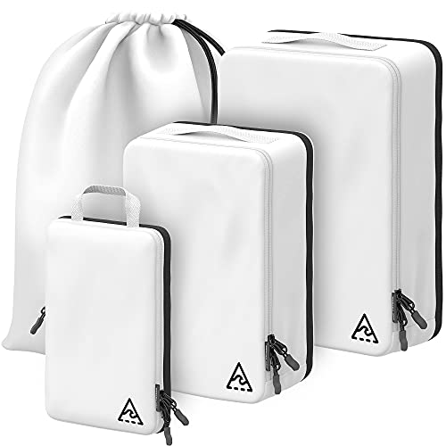 WELL TRAVELED 4-piece Compression Packing Cubes For Travel with HybridMax Double Capacity Design Compression Cube, Packing Cubes Compressible & Reliable, Travel Gear & Travel Accessories