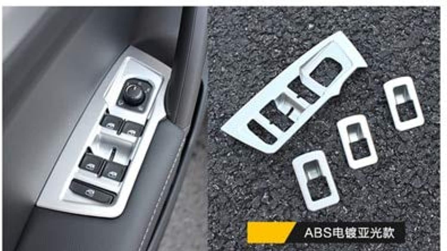 ABS Chrome 4pcs lot Interior Door Window Switch Panel Cover Trim Bezel MOLDING Garnish for 20162018 Volkswagen VW Tiguan mk2  (color Name  A)