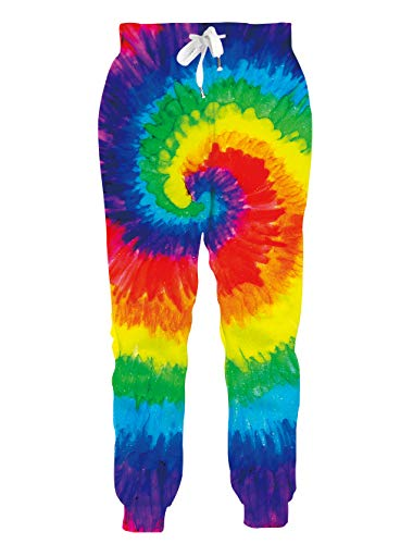 Loveternal Men Tie Dye Sweatpants 3D Lounge Baggy Joggers for Women with Pockets 90s Parachute Pants Unisex Colorful Joggers Gym Slim Fit Joggers M