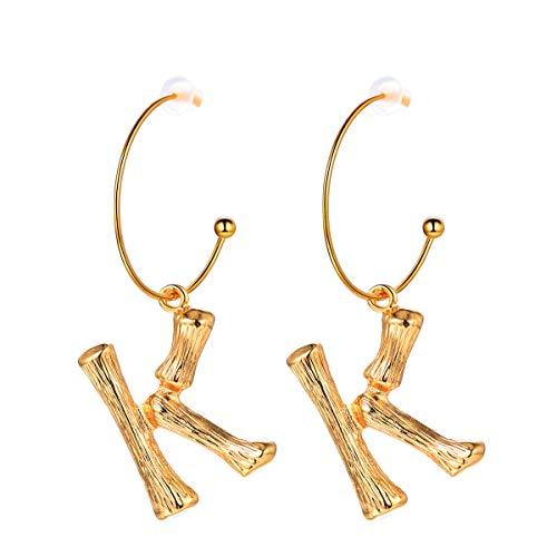 FOCALOOK Damen Ohrringe Bambus Stil baumeln Ohrringe Gelbgold überzogen Buchstabe K Ohrhänger Coole Groß Initiale Ohrschmuck für Frauen Mädchen, gold
