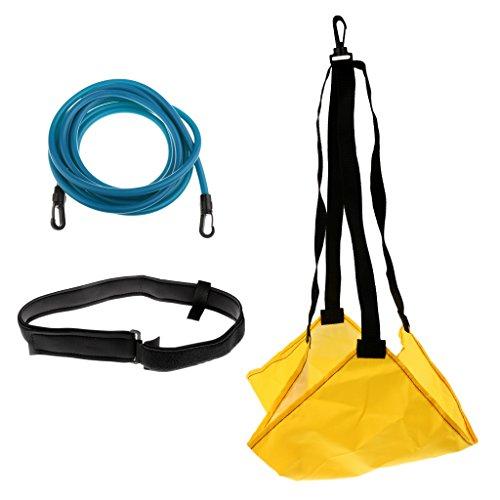 Herren Damen Schwimmtraining Kinder Wassertraining mit Bremsschirm und Elastikband Schwimmtrainer - Gelb + Blau