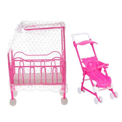 SM SunniMix Carro de Cuna de Bebé Nursery para Accesorios de Casa de Muñecas