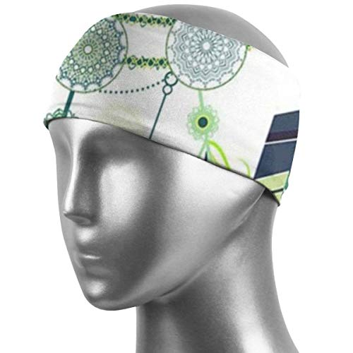 QUZtww Green Eyes Dream Catching Running Sweat Head Bands Super Soft Sweat Absorbing Bandana Headband Dry Quickly Elastic Sweatbands for Boys Girls Boxing Training Dance Indoor Outdoor Workout