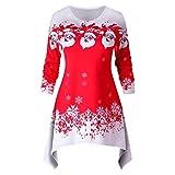 Lazzboy Weihnachtsfrauen Langarm Weihnachtsmann Schneedruck Weihnachtskleid Kapuzenpullover Damen Weihnachtspullover Pullis Christmas Pullover Kleider(Rot,2XL)