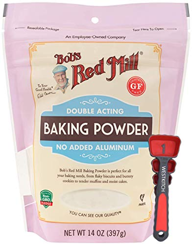 Bob's Red Mill Baking Powder 14 Ounce Double Acting Baking Powder No Added Aluminum Bundle with Swivel Measuring Spoons by Westkitch