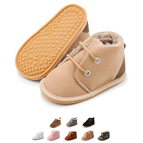 Kuner Baby Boy's Brown Warm Snow Short Boots First Walkers Shoes (10.5cm (0-6 Months)