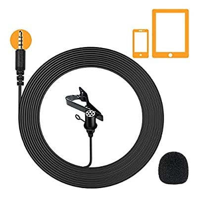 Comica CVM-V01SP Lavalier Microphone Lapel Clip-on Mircophone Omnidirectional Mic, 2.5m/8.2ft Cable for Smartphones&Tablets for Youtube, Interview, Video Recording, Live Broadcast