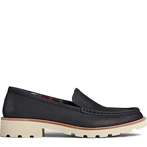 Sperry Women's Authentic Original Lug Loafer Boat Shoe, Black, 7