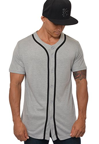 YoungLA Baseball Jersey Plain Shirts for Men Button Down Sports Tee Made w/Soft Cotton 304 Gray - Large