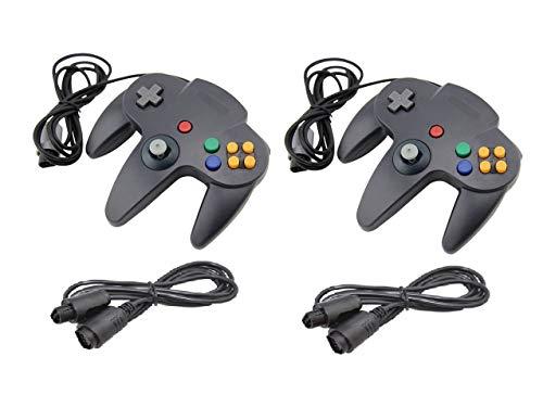 DARLINGTON & Sohns 2 Schwarze Controller für Nintendo 64 N64 Joystick Schwarz Gamepad Joypad + Verlängerung Extansion Verlängerungskabel Gamepad
