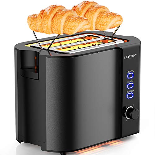 2 Slice Toaster, LOFTer Stainless Steel Bread Toasters with Warming Rack Best Rated Prime, Extra Wide Slots, 6 Bread Shade Settings, Defrost/Reheat/Cancel Function, Removable Crumb Tray, 800W, Grey
