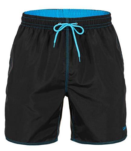 Zagano Badehose Herren Badeshorts, Boardshorts für Männer mit Kordelzug, Badehose, Sporthose, Shorts XXL Schwarz, hergestellt in der EU