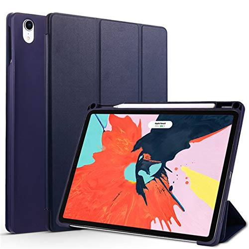 QiuKui Tab Cover For iPad Pro 11 2018, Trifold Stand Case with Pencil Holder Cover Magnetic Smart Case for iPad Pro11 (Color : Dark blue)