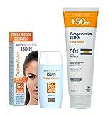 ISDIN Gel Cream SPF 50+ 250 ml Crema Solar Corporal hidratante Rápida absorción + Fusion Water SPF 50 - Protector solar facial de fase acuosa para uso diario, Textura ultra ligera, 50 ml