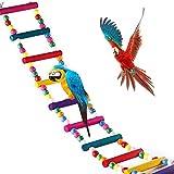 MEISO 74 x 10 cm juguetes para pájaros para loro escalera, columpio, entrenamiento arco iris puente para loros, periquitos africanos grises conures cacatúas, agapornis, ninfas.